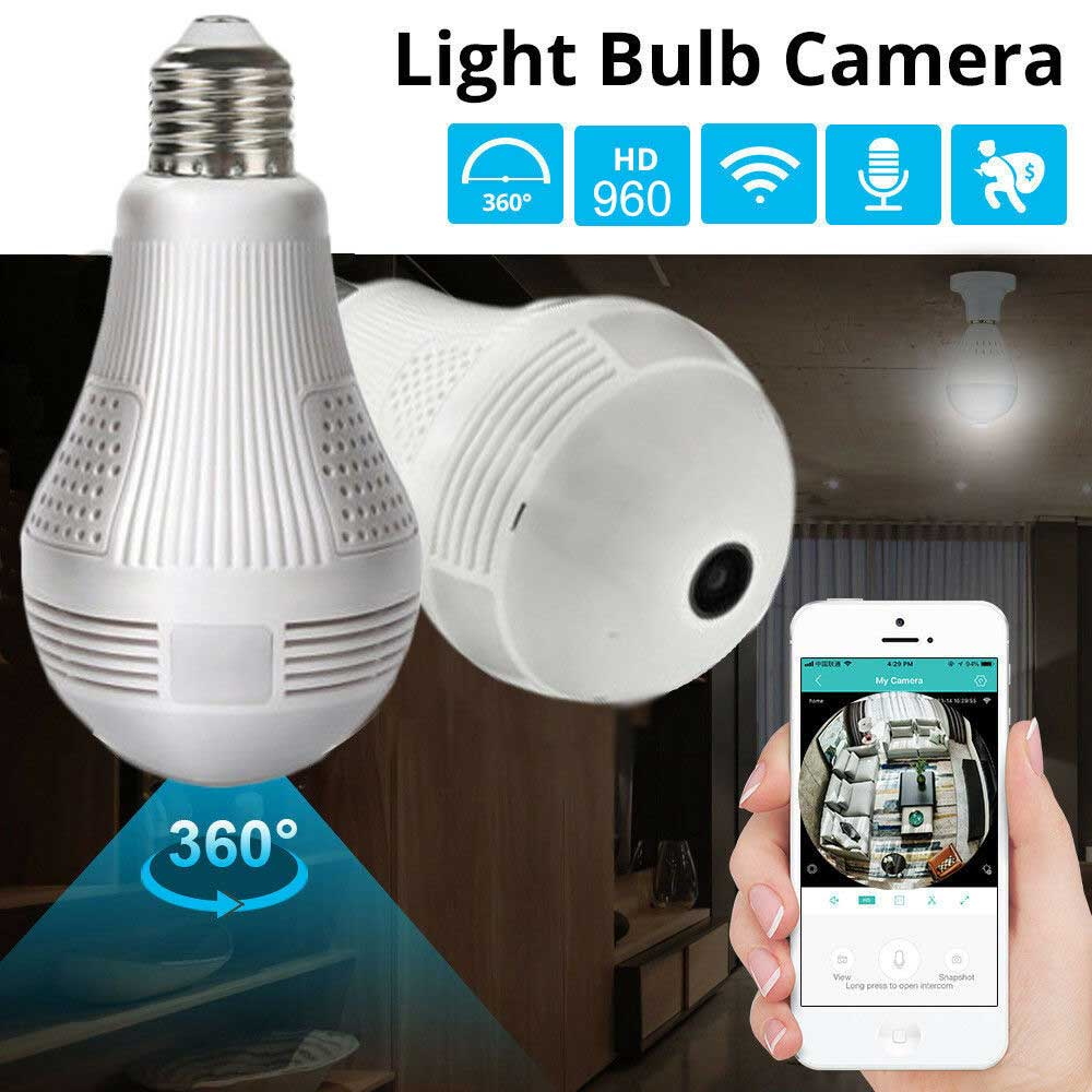 Panoramic Hidden Wifi Camera Light Bulb
